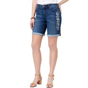 Style & Co Casual Embroidered Denim Shorts Sz 10
